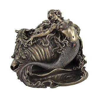 Gorgeous Bronzed Mermaid and Conch Trinket Box