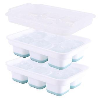 Eiskugel Form 6 Gitter Quadrat EisGitter Silikon EisWürfel Tabletts Set von 2 mit Abdeckung (20 * 13,5 * 5,4 cm)
