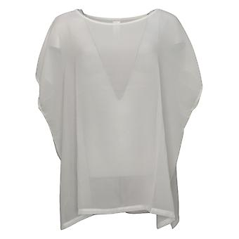 WynneLayers Women's Top Reg Cap-Sleeve Chiffon White 758947