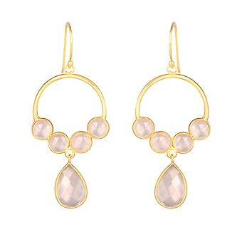 ADEN Gold Plated 925 Sterling Silver Faceted Pink Quartz Oorbellen (id 4456)