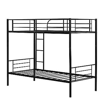 Black Single Bunk Bed With Strong Slat & Ladder & Safety Guardrail