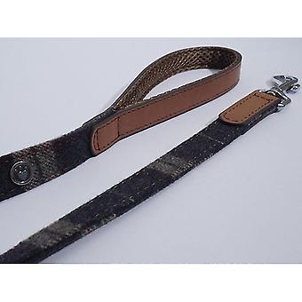 Pet leashes luxury leather lead tweed check 3/4'' x40''