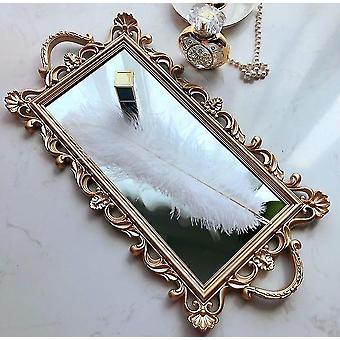 Plateau miroir rétro français vintage en or pour la décoration de la maison (or)