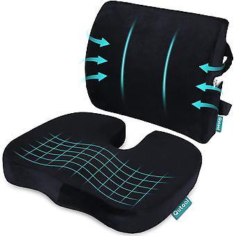 כרית מושב אורתופדית וגב & מותני תמיכה כרית עבור כיסא משרדי זיכרון קצף כרית מושב המכונית