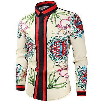 Silktaa Men's Vintage Floral Print Long-sleeved Buttoned Shirt