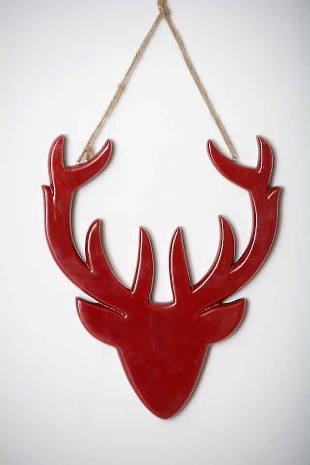 Christmas Red Ceramic Hanging Deer Head Decoration
