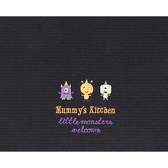Mummy's Kitchen Little Monsters Welcome Halloween Black Waffle Weave Towel