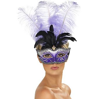 Venezianische Colombina Augenmaske mit mehrfarbigem Federbusch