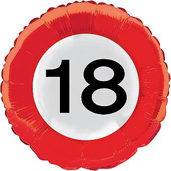 Folienballon Verkehrsschild Zahl 18 Geburtstag Helium Ballon Party