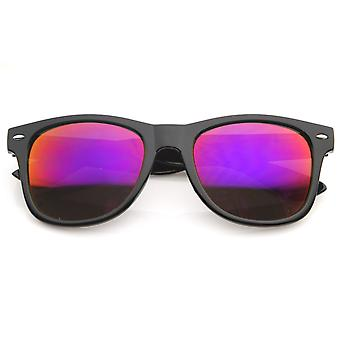 Flat Matte Reflective Flash Mirror Color Lens Large Horn Rimmed Style Sunglasses