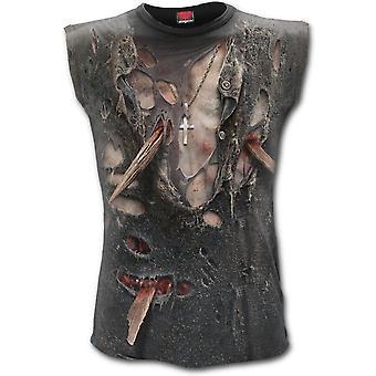 Spiraal-Zombie wrap-allover gedrukte mouwloos t-shirt top, zwart
