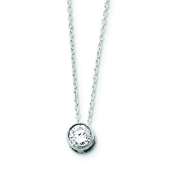 925 Sterling Silver Solid Bezel Polished Open back CZ Cubic Zirconia Simulated Diamond Pendant on Chain Necklace Spring