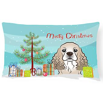 Christmas Tree and Cocker Spaniel Fabric Decorative Pillow
