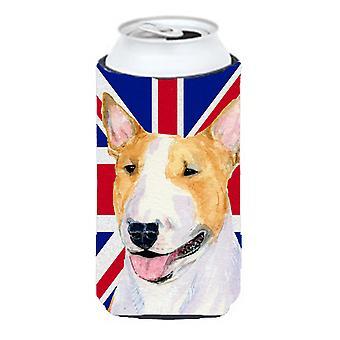 Bull Terrier con la Union Jack inglesa bandera británica muchacho alto bebidas aislador Hu