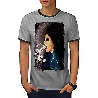 Smoke Vape Space Men Heather Grey / Heather Dark GreyRinger T-shirt | Wellcoda