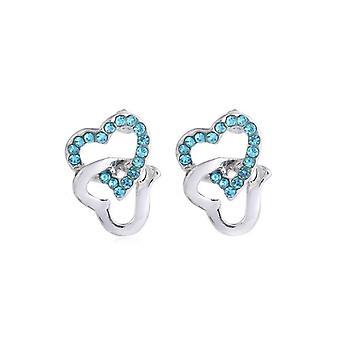 Womens Silver Stud örhängen himmelsblå stenar fastkedjad hjärtat Diamante