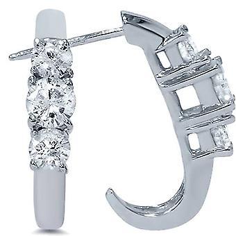 ستون ثلاثة 1 قيراط الماس أقراط الذهب الأبيض ك 14