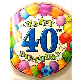 Gelukkige 40ste verjaardag ballon met ballon grens