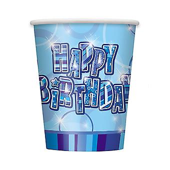 Urodziny blichtru Blue - Happy Birthday niebieski pryzmat kubki