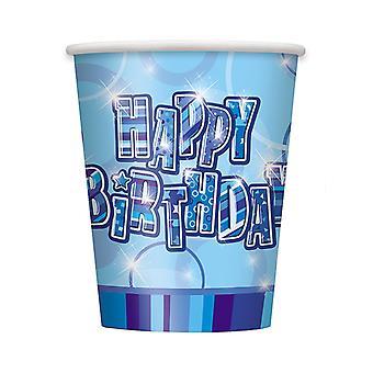Fødselsdag Glitz blå - tillykke med fødselsdagen blå prisme kopper