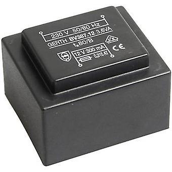 PCB mount transformator 1 x 230 V 1 x 18 V AC 3.60 VA 200 mA PTG381801 Gerth