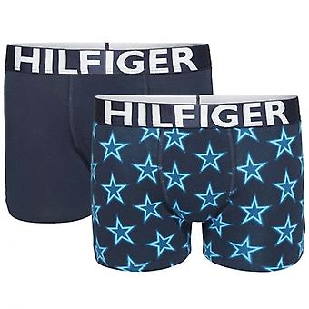 Tommy Hilfiger pojkar 2 Pack Boxer Trunk, keramiska / marinblå kavaj, X-Large