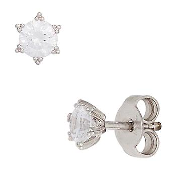 Stud Earrings star 333 Gold White Gold 2 cubic zirconia earrings gold