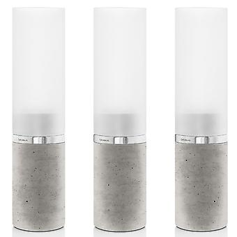 Windlights set 3-piece concrete with stainless steel matt and glass