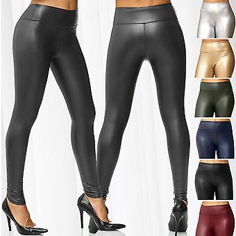 Ladies Leggings Metallic läder optik hög midja Wet Look Stretch Gloss byxor