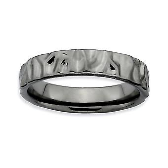 925 Sterling Silver Textured Polished Patterned Ruthenium plating Stackable Expressions Black plated Ring Jewelry Gifts