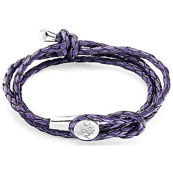 Anclaje y equipo Dundee plata y pulsera de cuero - uva púrpura