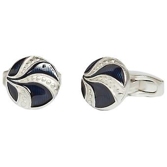 Simon Carter Vintage Button Cufflinks - Blue/Silver