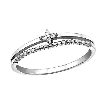 Flower - 925 Sterling Silver Jewelled Rings - W30857x