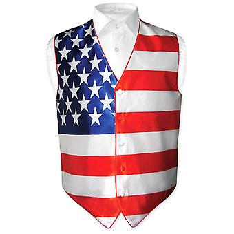 Men's American Flag Dress Vest for Suit or Tuxedo