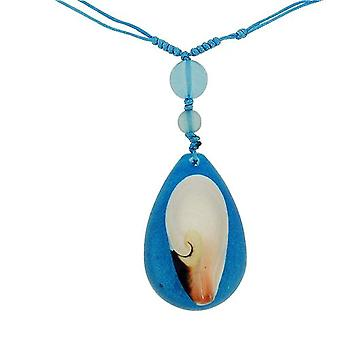 The Olivia Collection Nautical Underwater Life Necklace with REAL Shell Set In Blue Resin