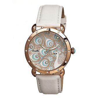 Bertha Genevieve MOP Leather-Band Ladies Watch - Rose Gold/White