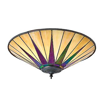 Dark Star nagy Tiffany Style két Light flush lámpatest-Interiors 1900 70240