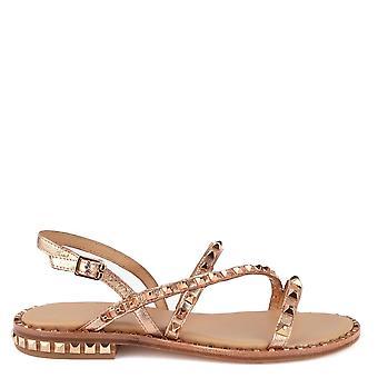 Ash Footwear Peace Rose Gold Studded Leather Sandal