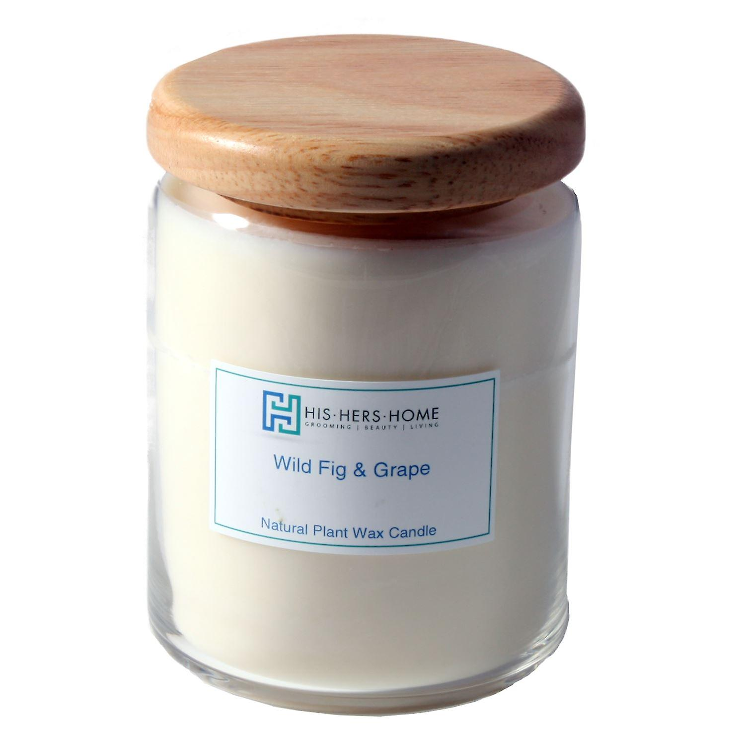HisHersHome Natural Plant Wax Large Large Candle - Wild Fig & Grape