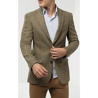 Scottish Harris Tweed Mens Green Windowpane Regular Fit 100% Wool Notch Lapel Tweed Jacket