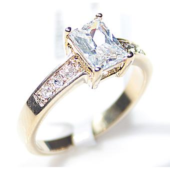 Ah! Jewellery Emerald Cut Simulated Diamond Ring, Gold Electroplated