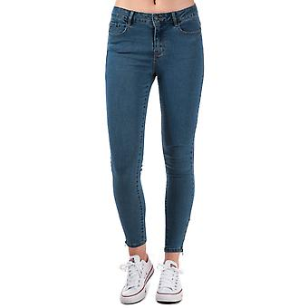 Womens Vero Moda chaud sept Slim cheville zip jeans en denim bleu moyen