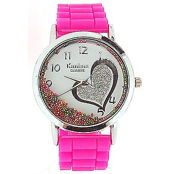 Kanima Ladies-Girls Analogue Floating Crystals In Dial Pink Silicone Strap Watch