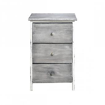 Möbel Rebecca Cassetti Bedside 3 Shabby Grau Schubladen 56x35x25