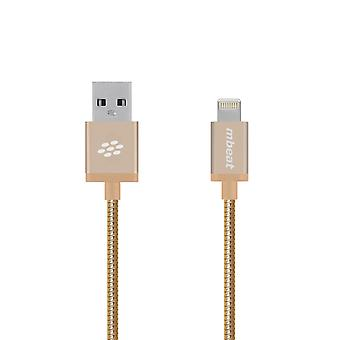 mbeat 'Toughlink' Gold 1.2m Metal Braided MFI Lightning Cable