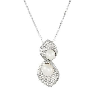 Eternal Collection Virtuoso White CZ And Freshwater Pearl Sterling Silver Pendant Necklace