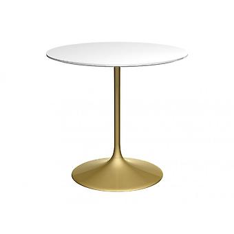 Gillmore Pedestal Medium Dining Table White Gloss And Brass