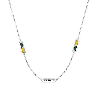 North Dakota State University Sterling Silver Engraved Triple Station Necklace In Green and Yellow