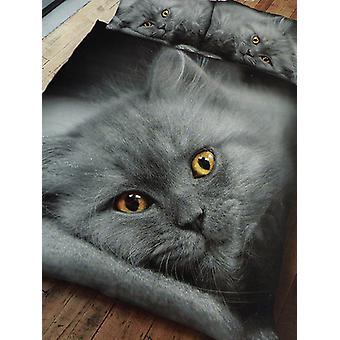 Graue Kätzchen Bettbezug und Kissenbezug Set