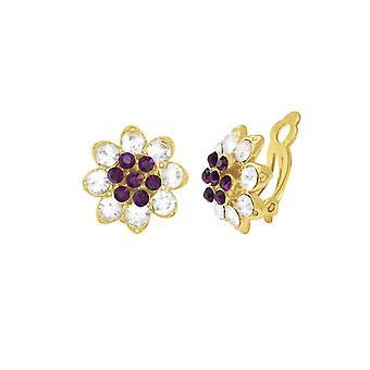 Ewige Sammlung Bellini Amethyst & klar Crystal Gold Ton Stud Clip auf Ohrringe